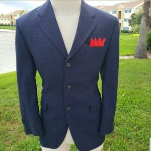 Ralph Lauren Blazer Wool Blue Rear Vent Mens 40s